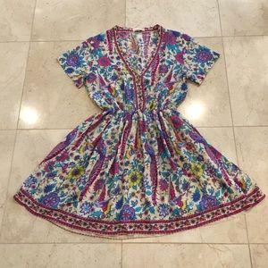 TDDPSSHDP Floral Peacock Boho Dress